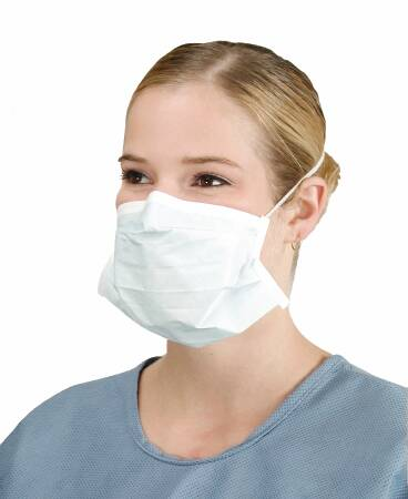 Surgical Mask Critical Cover® PFL® Pleated Elastic Strap One Size Fits Most Blue NonSterile (50/BX)