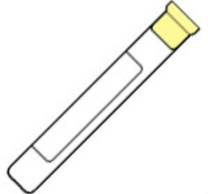 Glass Tube, Conventional Stopper, 13 x 100mm, 3.0mL, Yellow, Paper Label, ACD Solution B of Trisodium Citrate 13.2g/L, Citric Acid 4.8g/L & Dextrose 14.7g/L, 1.0mL, 100/pk, 10 pk/cs