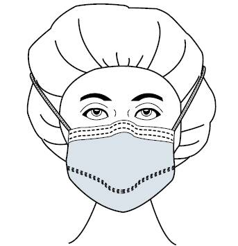 Surgical Mask Fog Shield® Anti-fog Foam Pleated Tie Closure One Size Fits Most Blue NonSterile (50/BX)