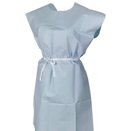 Patient Exam Gown One Size Fits Most Blue Disposable  T/P/T ECON BLU 30X42 (50/CS)