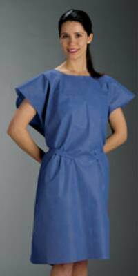 Patient Exam Gown Medium / Large Blue Disposable 30