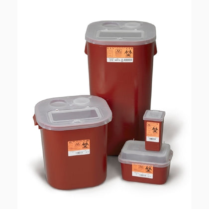 Sharps Container, 2 Gallon Red, Tortuous Path Lid, 10