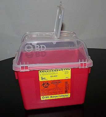 Sharps Collector, 8 Qt, Clear Top, Open Cap, Red, 24/cs