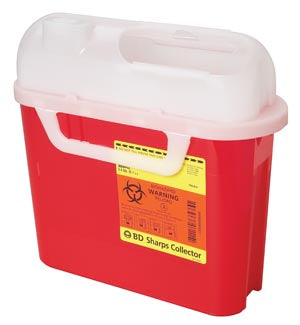 Sharps Collector, 2 & 3 Gallon, Next Generation, Counter Balanced Door, Red, 10/cs