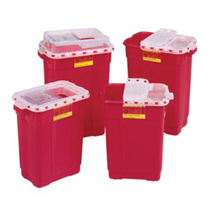 Sharps Collector, 17 Gal, Hinged Top, Red, 5/cs