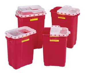 Sharps Collector, 9 Gal, Hinged Top, Red, 8/cs