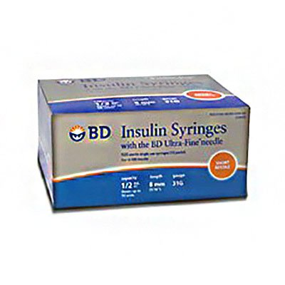 Insulin Syringe, ½mL Lo-Dose, Permanently Attached Needle, 31 G x 5/16