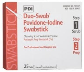 Duo-Swabs®, 1 PVP Iodine Scrub & 1 PVP Iodine Prep Swab in a Connected Packet, 2/pk, 25 pk/bx, 10 bx/cs (52 cs/plt) - Cimadex International