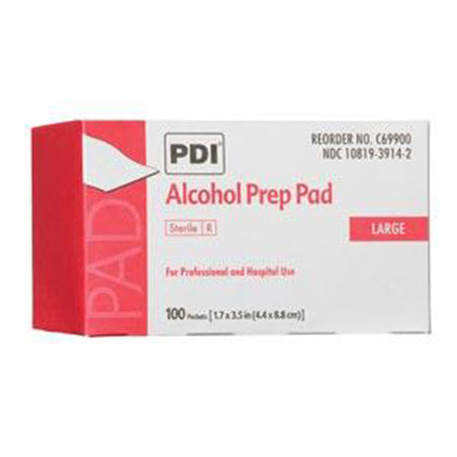 "Alcohol Prep Pad, Large, Sterile, 1.7"" x 3.5"",  Applicator 2½"