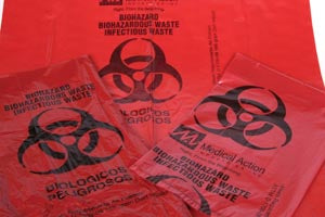 "Infectious Waste Bag, 23"" x 23"" Red, 1.5 mil, 500/cs"