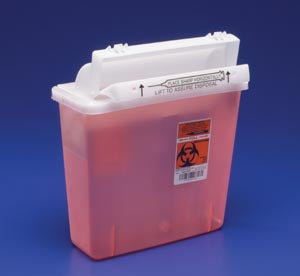 IN-ROOM Sharps Container, 5 Qt, Transparent Red, SHARPSTAR Lid & Counter-Balanced Door, 12½