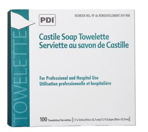 Castile Soap Towelette, 2% Coconut Oil, 1/pk, 100 pk/bx, 10 bx/cs (63 cs/plt) - Cimadex International