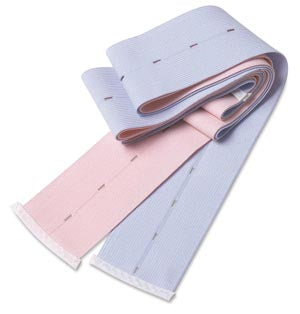 "Buttonhole Abdominal Belt, Knit Elastic, 2 3/8"" x 48"", Holes Every 1¼"", Finished Ends, 1 Pink & 1 Blue Belt Per Set, Latex Free (LF), 100 sets/cs"