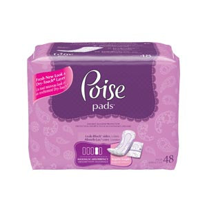 Poise Pads, Maximum, 48/pk, 4 pk/cs