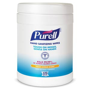 "Durable Textured Wipes For Superior Cleaning, Non Linting, 270 ct Popup Canister, Wiper Size 6"" x 6¾"""