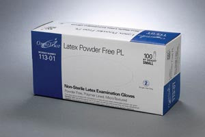 Exam Glove, Latex, Small, Powder Free (PF), 100/bx, 10 bx/cs (60 cs/plt) - Cimadex International