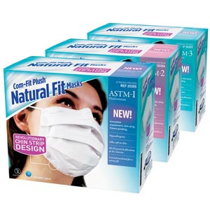 Com-Fit Plush™ Natural Fit Masks, ASTM 3, White, 40/bx, 1 bx/ea - Cimadex International