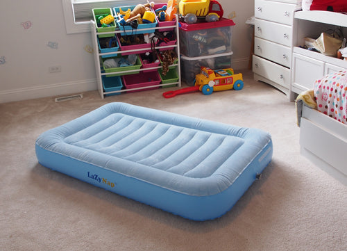 LazyNap LZ-01K Kids Air Bed with Flock Top for Camping, Nap Time or Sleepovers (Includes FREE Hand-Held A/C Electric Pump)