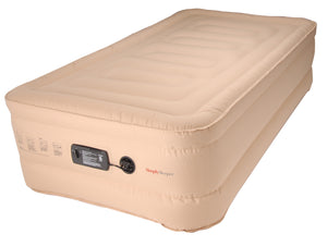 "SimplySleeper SS-49T Premium Raised 18"" Inflatable Mattress - Air Bed w/ Built-in Fully Automatic Electric Pump (Puncture & Stretch Resistant!) w/ New Patented Auto Stop Pump. Travel bag and Repair Kit Included. (Twin Size)"