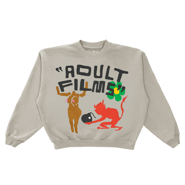 "CPFM ""ADULT FILMS"" WARM GREY CREWNECK PULLOVER"
