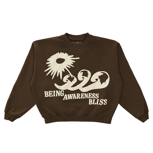 BEING-AWARENESS-BLISS BROWN CREWNECK PULLOVER