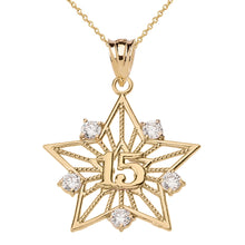 Load image into Gallery viewer, Filigree Star Design 15 Anos Quinceanera Pendant Necklace in Two-Tone Gold - solid gold, solid gold jewelry, handmade solid gold jewelry, handmade jewelry, handmade designer jewelry, solid gold handmade designer jewelry, chic jewelry, trendy jewelry, trending jewelry, jewelry that's trending, handmade chic jewelry, handmade trendy jewelry, mod-chic jewelry, handmade mod-chic jewelry, designer jewelry, chic designer jewelry, handmade designer
