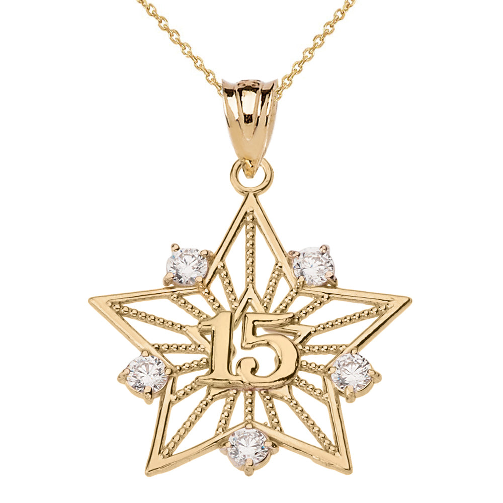 Filigree Star Design 15 Anos Quinceanera Pendant Necklace in Two-Tone Gold - solid gold, solid gold jewelry, handmade solid gold jewelry, handmade jewelry, handmade designer jewelry, solid gold handmade designer jewelry, chic jewelry, trendy jewelry, trending jewelry, jewelry that's trending, handmade chic jewelry, handmade trendy jewelry, mod-chic jewelry, handmade mod-chic jewelry, designer jewelry, chic designer jewelry, handmade designer