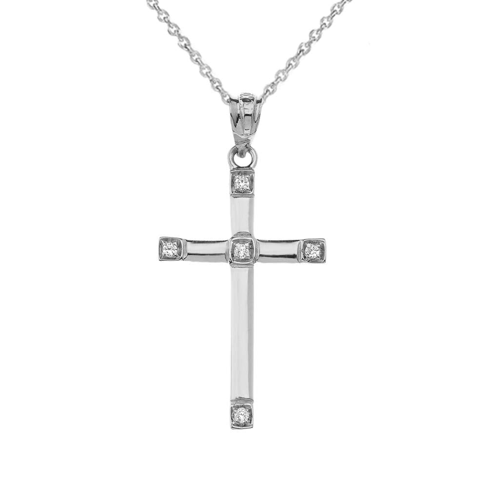 CaliRoseJewelry Sterling Silver Classy Elegant Diamond Simple Cross Charm Pendant Necklace