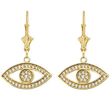 Load image into Gallery viewer, CaliRoseJewelry 14k Gold Evil Eye Diamond Pendant and Earrings Set