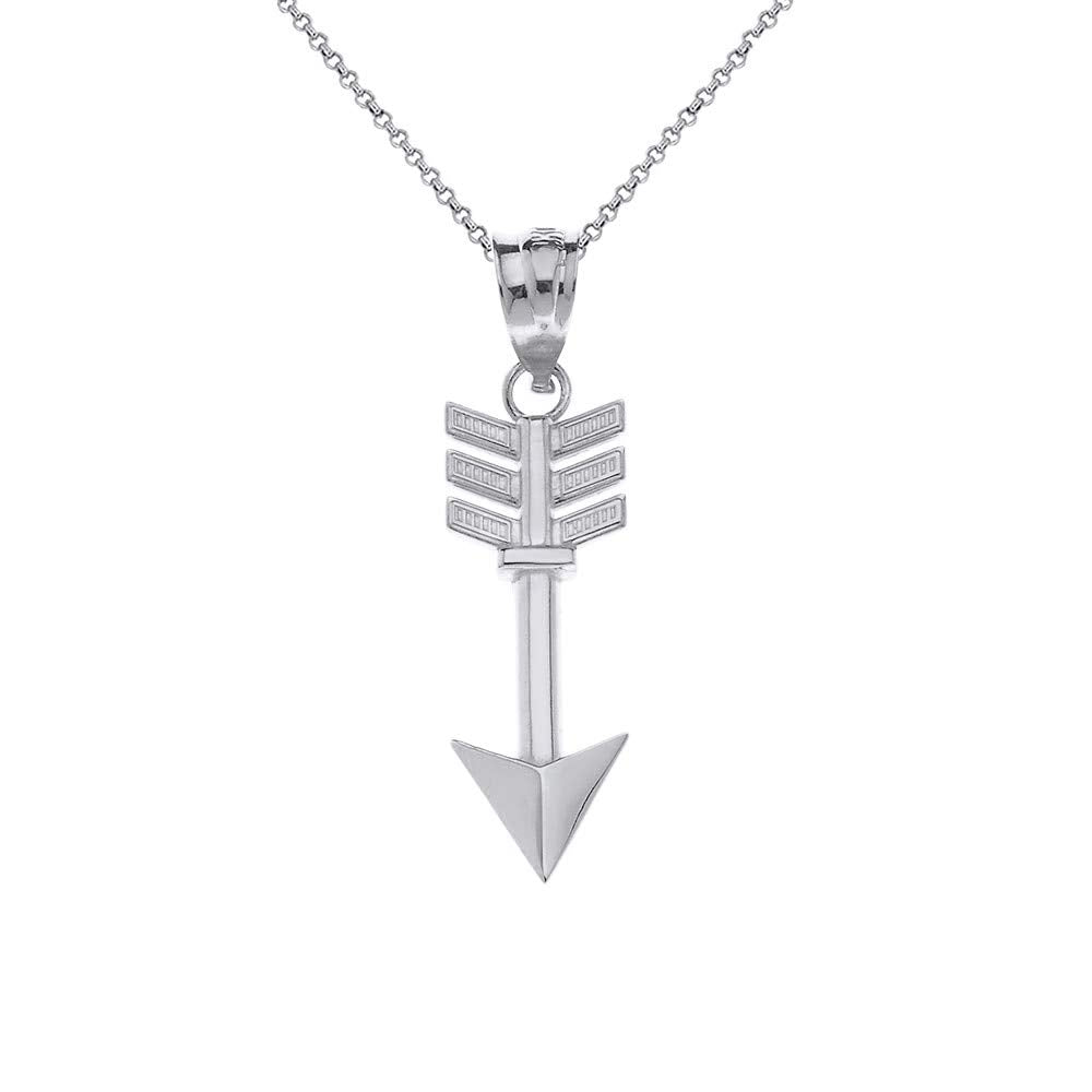 CaliRoseJewelry Sterling Silver Indian Arrowhead Arrow Charm Pendant Necklace
