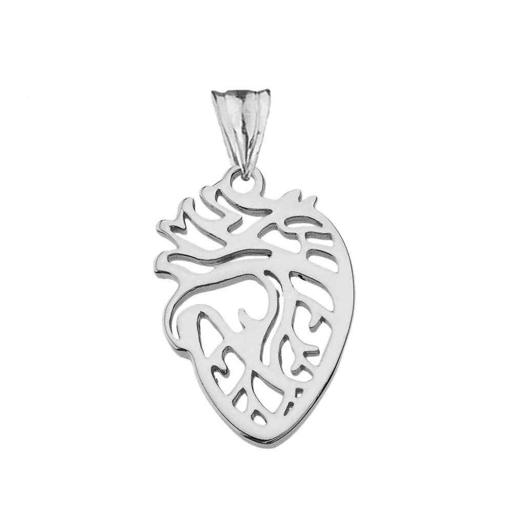 CaliRoseJewelry Sterling Silver Anatomical Heart Nurse Doctor Charm Pendant