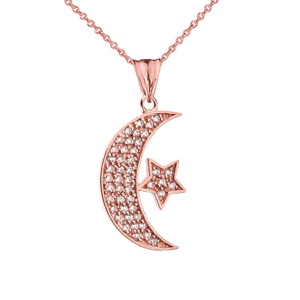 CaliRoseJewelry 10k Gold Crescent Moon and Star Symbol Cubic Zirconia Pendant Necklace