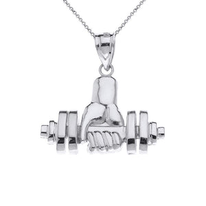 CaliRoseJewelry 14k Weightlifting Dumbell Barbell Fitness Gym Trainer Charm Pendant Necklace