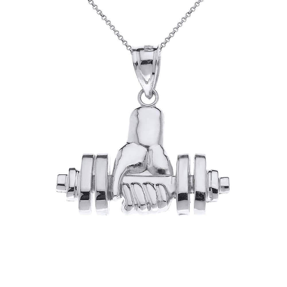CaliRoseJewelry Sterling Silver Weightlifting Dumbell Barbell Fitness Gym Trainer Charm Pendant Necklace