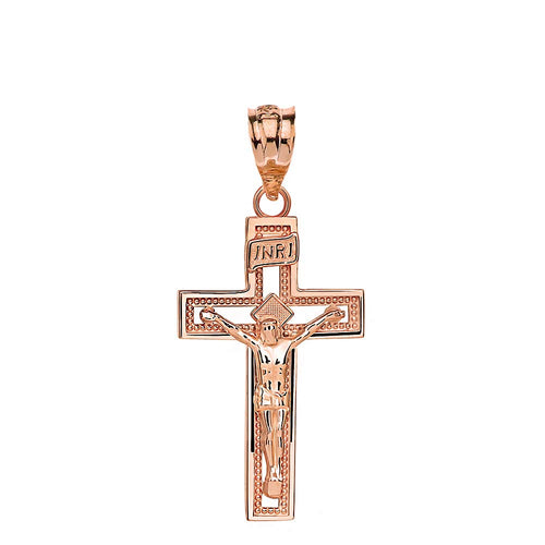 10k Rose Gold INRI Crucifix Cross Catholic Jesus Pendant