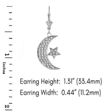 Load image into Gallery viewer, 14k Gold Crescent Moon and Star Symbol Cubic Zirconia Earrings