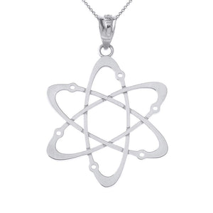 CaliRoseJewelry Sterling Silver Carbon Atom Science Reversible Charm Pendant Necklace