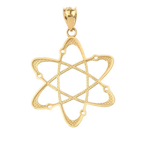 CaliRoseJewelry 14k Yellow Gold Carbon Atom Science Reversible Charm Pendant