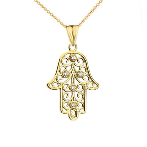 CaliRoseJewelry 10k Gold Hamsa Hand Heart Diamond Charm Pendant Necklace