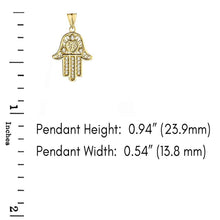 Load image into Gallery viewer, CaliRoseJewelry 10k Gold Hamsa Hand Heart Diamond Charm Pendant Necklace