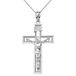 14k Gold INRI Crucifix Cross Catholic Jesus Pendant Necklace 1.36""