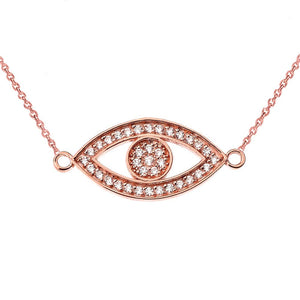 CaliRoseJewelry 14k Gold Sideways Evil Eye Cubic Zirconia Pendant Necklace