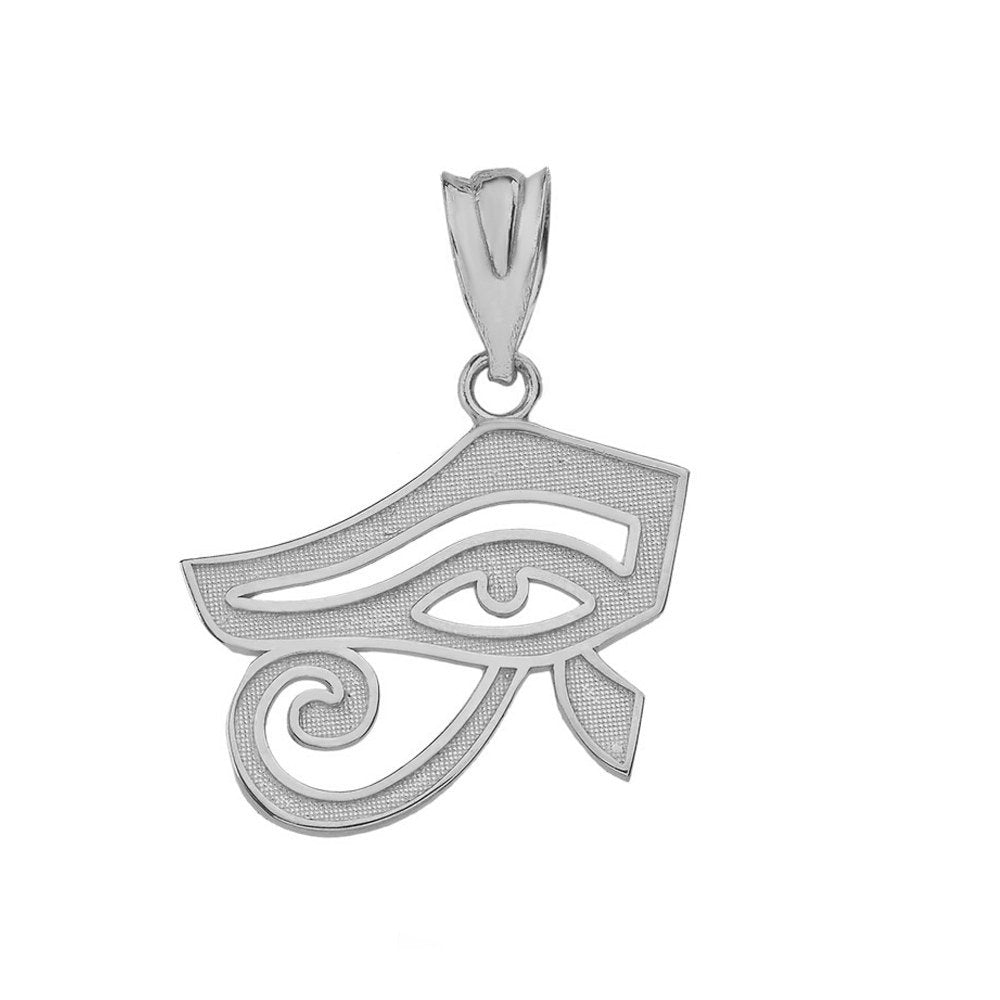 10k White Gold Egyptian Eye of Horus Charm Pendant