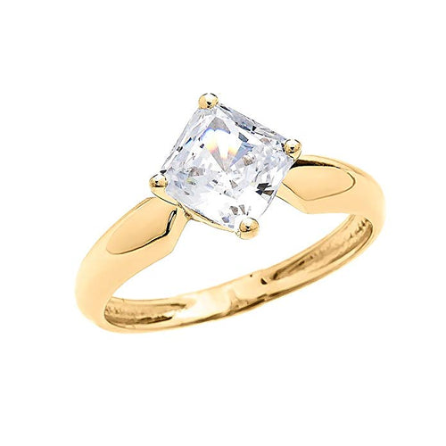 Gold Vintage Antique Princess Cut Engagement And Solitaire Proposal Ring with 2.5 Carat C.Z.