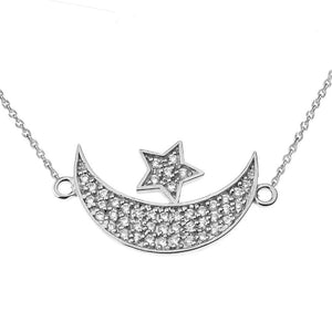 CaliRoseJewelry 14k Gold Sideways Crescent Moon and Star Symbol Cubic Zirconia Pendant Necklace