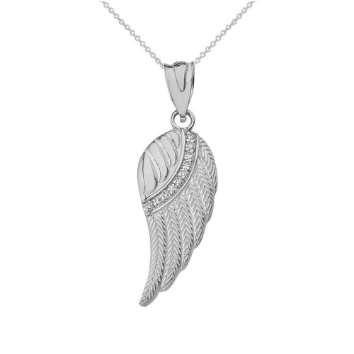 10k White Gold Diamond Feather Angel Wing Diamond Pendant Necklace - Small