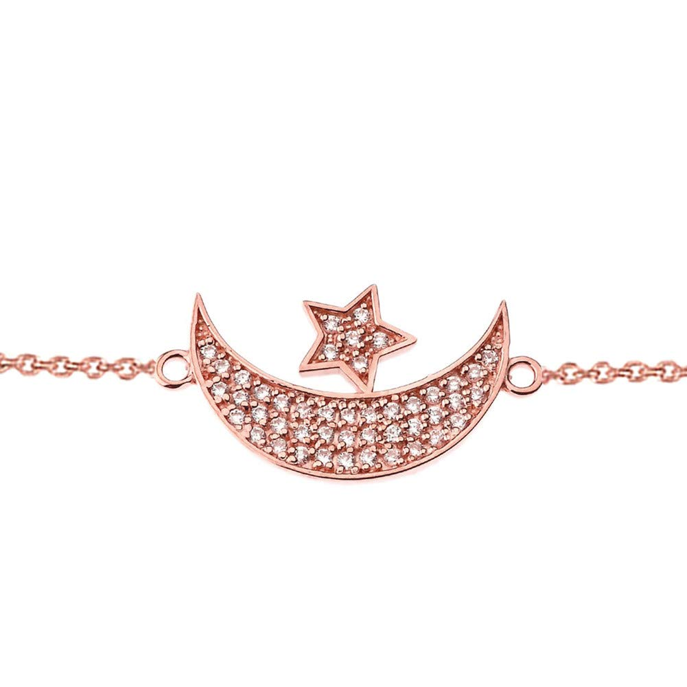 CaliRoseJewelry 14k Gold Sideways Crescent Moon and Star Symbol Cubic Zirconia Link Bracelet