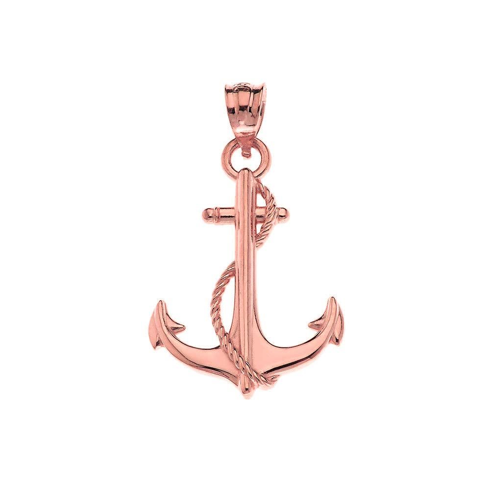 CaliRoseJewelry 10k Anchor Nautical Rope Sailor Navy Charm Pendant
