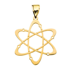 10k Gold Carbon Atom Science Pendant