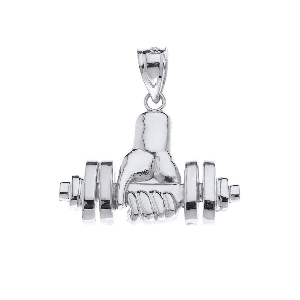 CaliRoseJewelry Sterling Silver Weightlifting Dumbell Barbell Fitness Gym Trainer Charm Pendant